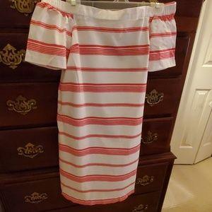 Pink/White Maison Jules Stripe Off Shoulder Dress